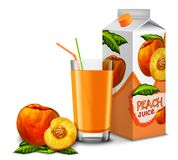 Peach juice set Royalty Free Stock Image