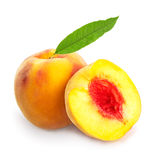 Peach with leaf Stock Photography