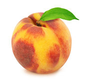 Peach with leaf. Full depth of field. Royalty Free Stock Photography