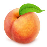Peach with leaf. Full depth of field. Stock Image