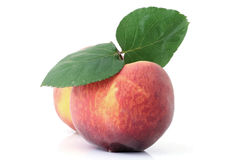Peach with leaf Royalty Free Stock Images