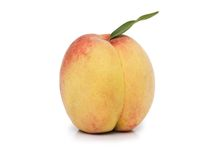 Peach with leave isolated. On the white Royalty Free Stock Photo