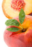 Peach with leaves Stock Images