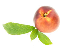 Peach with leaves Royalty Free Stock Photography