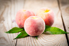 Peach with leaves Royalty Free Stock Image