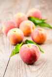 Peach with leaves Royalty Free Stock Photos