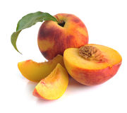 Peach and leaves Stock Photo