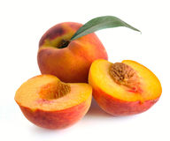 Peach and leaves Royalty Free Stock Image