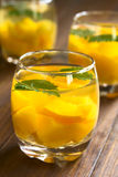 Peach, Lemon Balm and White Wine Punch Royalty Free Stock Images