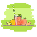 Peach lemonade with fruit slices, ice and meant in glass with straw, cut lemon and peach on green background. Royalty Free Stock Photo