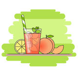 Peach lemonade with fruit slices, ice and meant in glass with straw, cut lemon and peach on green background. Stock Photo