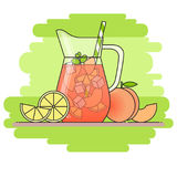 Peach lemonade with fruit slices, ice and meant in jug and glass with straw, cut lemon and peach. Isolated on green background. Modern flat style. Line art Royalty Free Stock Photo