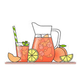 Peach lemonade with fruit slices, ice and meant in jug and glass with straw, cut lemon and peach. Isolated on white background. Mo Stock Photo