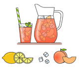 Peach lemonade with fruit slices, ice and meant in jug and glass with straw, cut lemon and peach. Isolated on white background. Modern flat style. Line art Stock Images