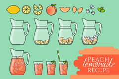 Peach lemonade with fruit slices, ice and meant in jug and glass with straw. Step-by-step instruction. On color background. Modern flat style. Line art Stock Image