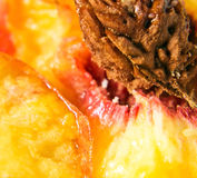 Peach , macro shot. Focus on a center Stock Image