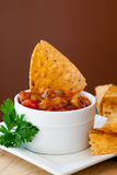 Peach Mango Salsa and chipotle Chips Royalty Free Stock Photography