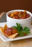 Peach Mango Salsa and chipotle Chips Stock Photo