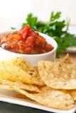 Peach Mango Salsa wand Whole Wheat Chips Stock Image