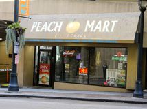 Peach Mart. The Peach Mart Convenience Store located on Peachtree Street in Atlanta, GA stock photo