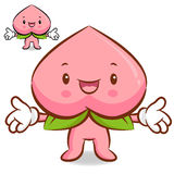 The Peach mascot has been welcomed with both hands. Fruit Charac Royalty Free Stock Photography