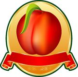 Peach medallion. Label with peach on the golden medallion Stock Image