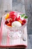 Peach melba dessert Royalty Free Stock Photography