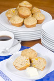 Peach Muffins with Butter and Coffee Royalty Free Stock Photo
