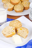 Peach Muffins with Butter and Milk Royalty Free Stock Photo