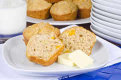 Peach Muffins with Butter and Milk Stock Image
