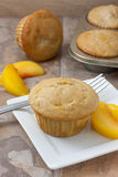 Peach Muffins. Homemade peach muffin with fresh peaches on a white plate sitting on a countertop Stock Photos