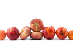 Peach, nectarine, apricot on background cherries isolated on whi. Peach, nectarine, apricot  isolated on white background Royalty Free Stock Image