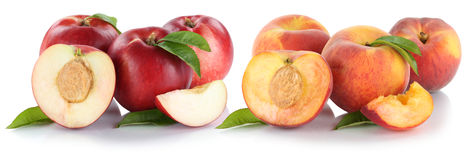 Peach nectarine peaches nectarines slice half fruit fresh fruits Stock Photo