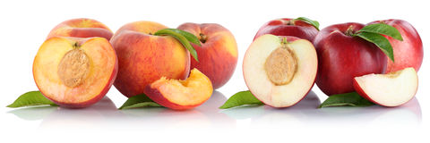 Peach nectarine peaches nectarines slice half fruit fruits isola Royalty Free Stock Image