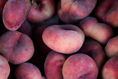 Peach new form . Flat peaches background. Stock Photo