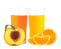 Peach and orange juice in the glass isolated on white Stock Photography