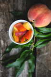 Peach Orchard  13. A Series of images of peaches in an orchard and on a back drop Stock Photo
