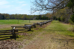 Peach Orchard at Shiloh NMP. Sarah Bell's Peach Orchard and George W. manse's cabin at Shiloh National Military Park in Tennessee Stock Photo