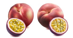 Peach and passion fruit set isolated on white background. As package design element Royalty Free Stock Images