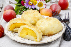 Peach in pastry, popular austrian dish Stock Photos