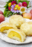 Peach in pastry, popular austrian dish Royalty Free Stock Images