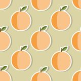 Peach pattern. Seamless texture with ripe peaches Stock Images