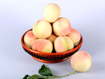 Peach. Es in plant taxonomy belong Rosaceae, genus plum,  subgenus, deciduous small tree. ,: Sweet juicy  flesh, rich in iron, can increase the number of human Stock Image