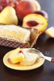Peach, pear, plum, coconut cake,spoon and grapes Royalty Free Stock Photos