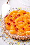 Peach pie. With sour berries Stock Photo