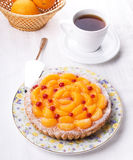 Peach pie. With sour berries Stock Photography