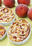 Peach pie. Clafoutis with almonds Royalty Free Stock Photography