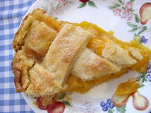 Peach pie. Slice of peach pie Stock Photo