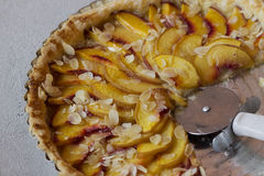 Peach pie with almond Stock Photo