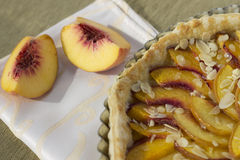 Peach pie with almond Royalty Free Stock Photos